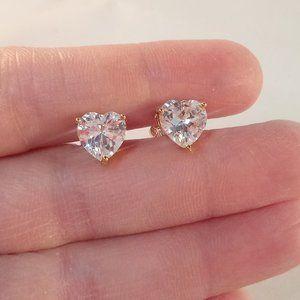 Jewelry - 18K Yellow Gold Plated Heart Zircon Stud Earrings